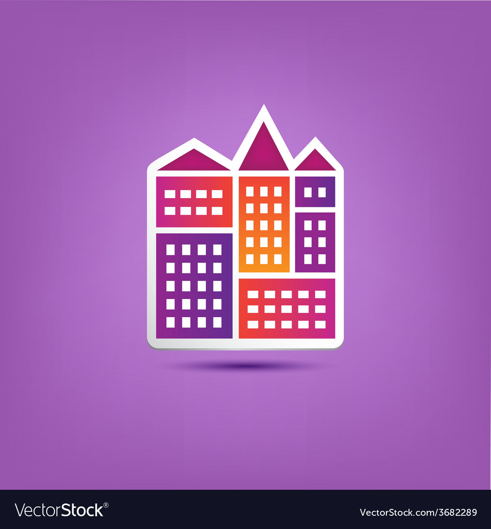 Building icon logo city houses composition vector | Price: 1 Credit (USD $1)