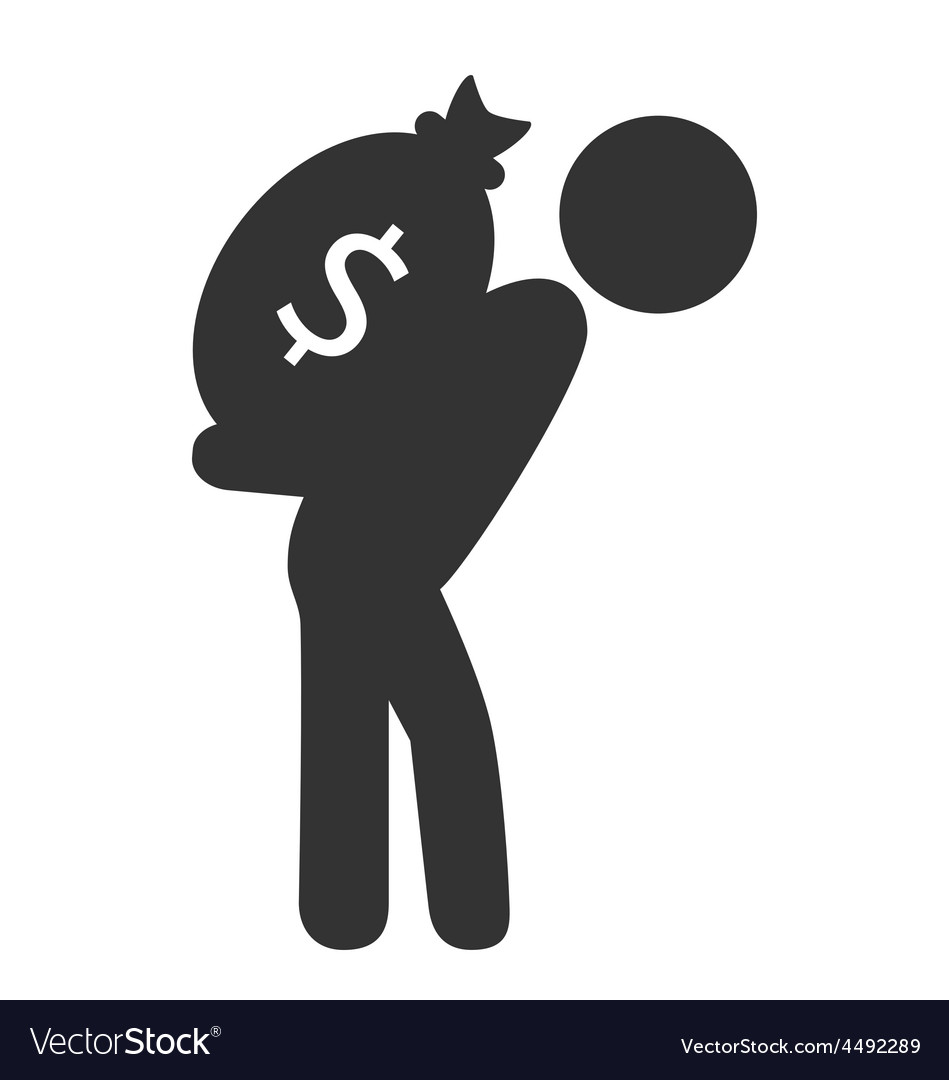 Business finance icon with cash bag isolated on vector | Price: 1 Credit (USD $1)