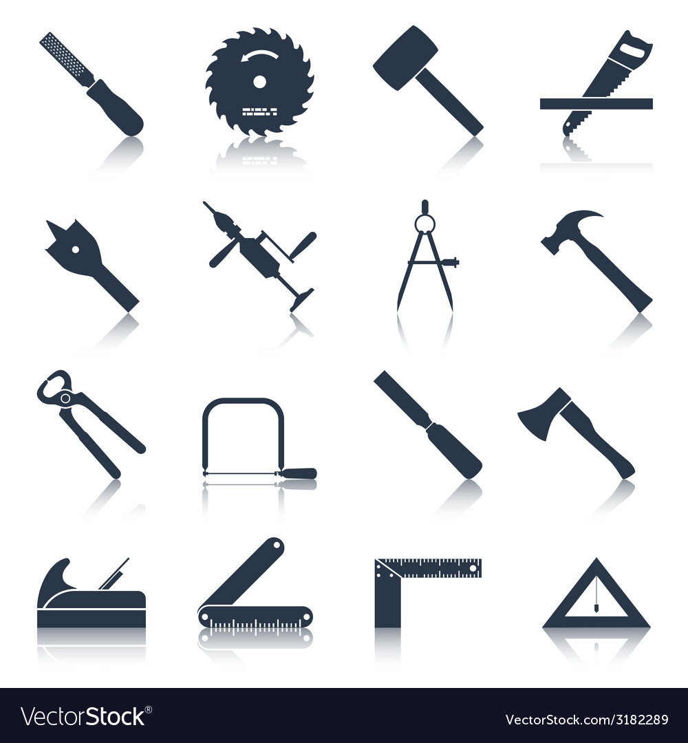 Carpentry tools icons black vector | Price: 1 Credit (USD $1)