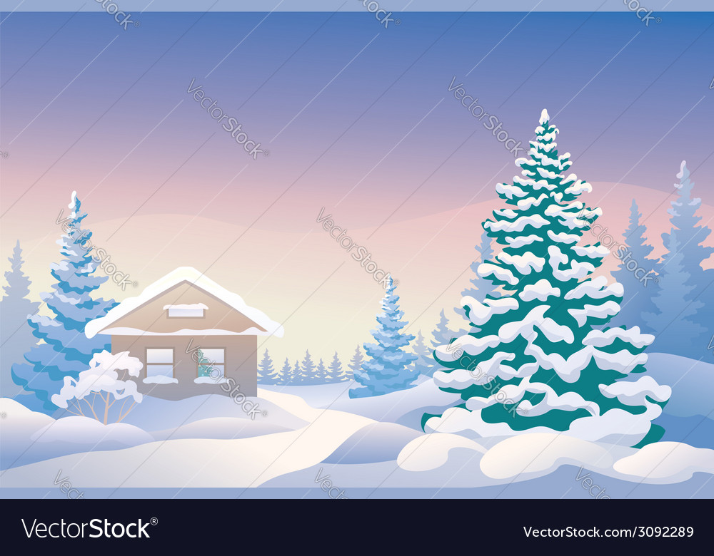 Christmas cabin vector | Price: 3 Credit (USD $3)
