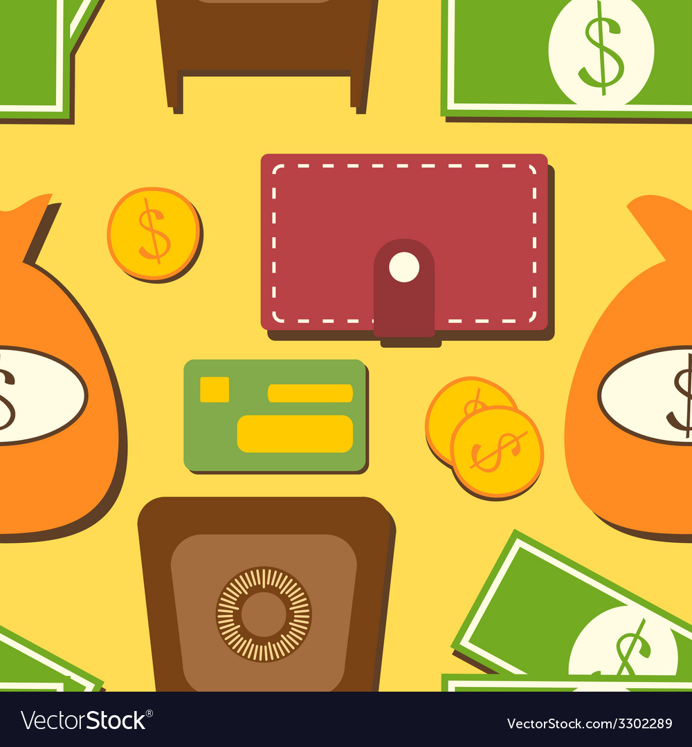 Finance seamless pattern with objects in flat vector | Price: 1 Credit (USD $1)