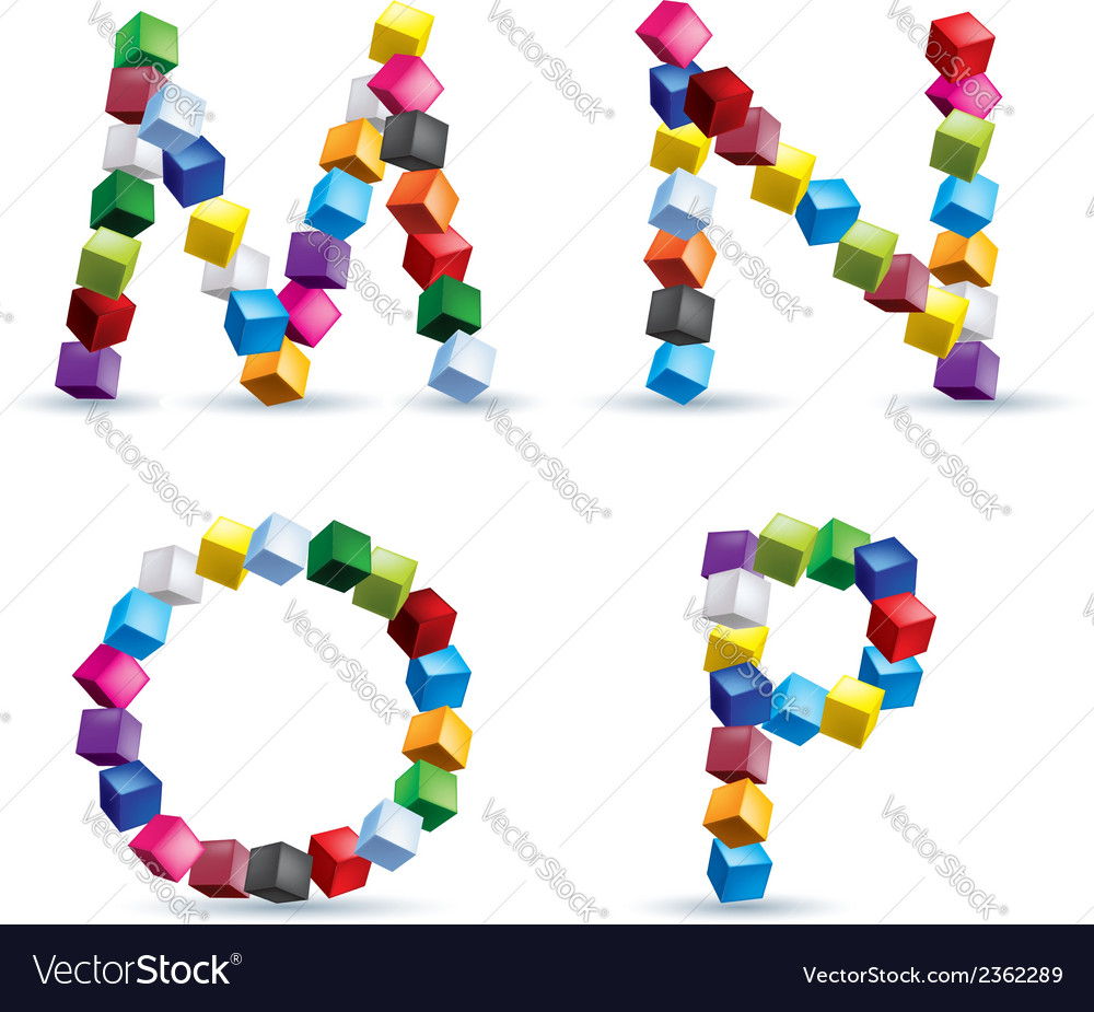 Four letters made of colored blocks vector | Price: 1 Credit (USD $1)