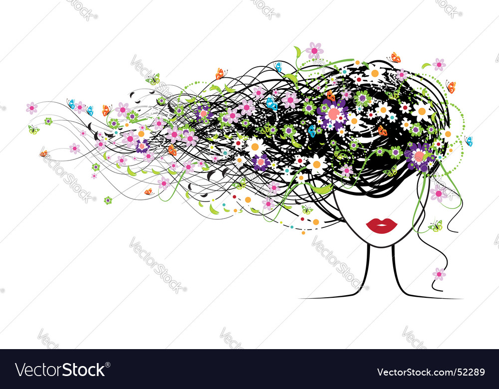 Girl face floral hairstyle vector | Price: 1 Credit (USD $1)