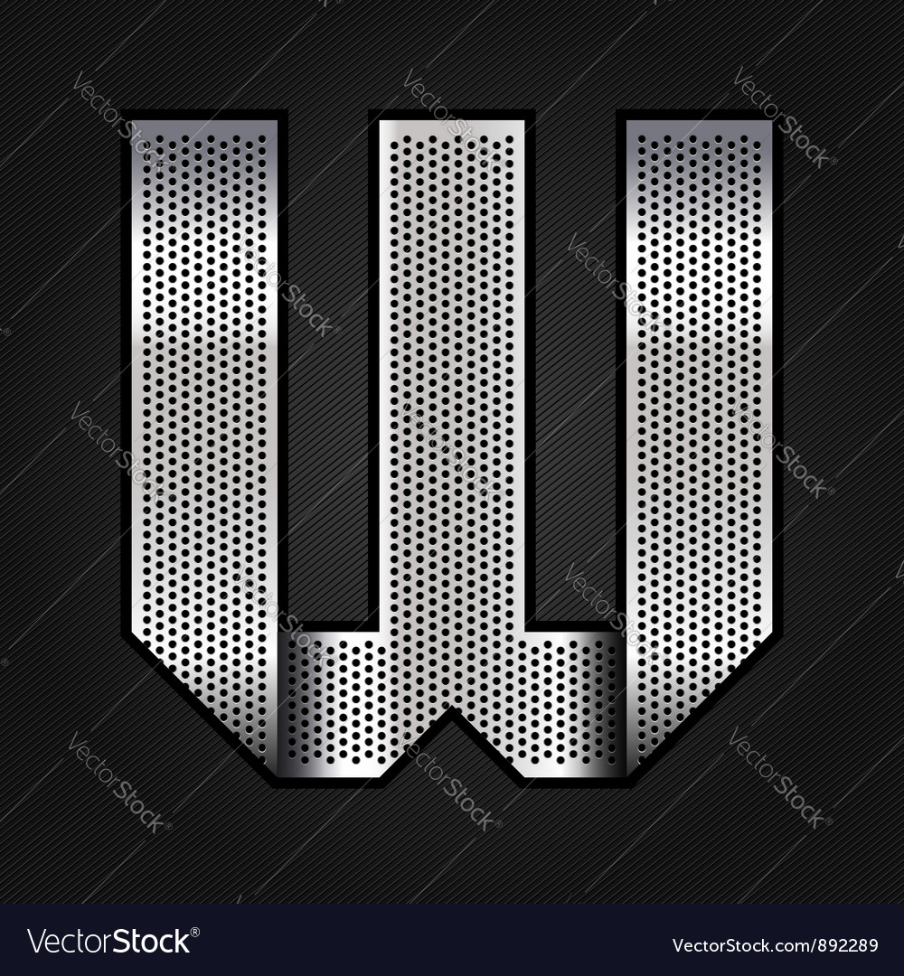 Letter metal chrome ribbon - w vector | Price: 1 Credit (USD $1)