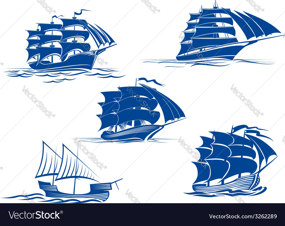 Medieval sailing ships icons vector | Price: 1 Credit (USD $1)