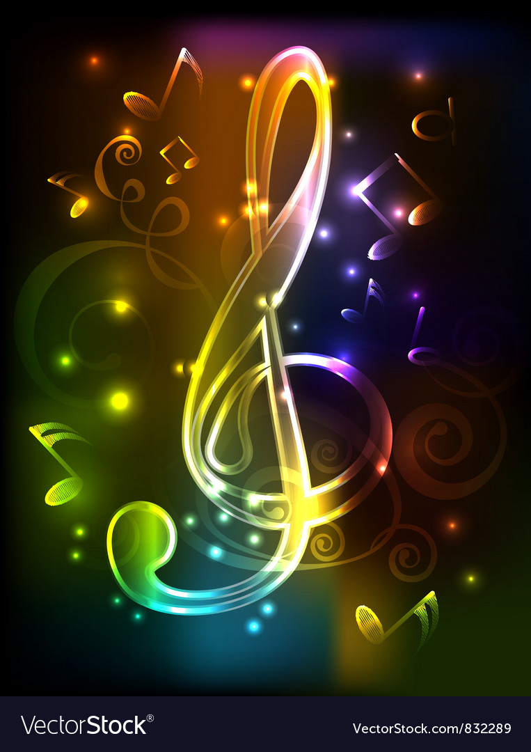 Neon treble clef vector | Price: 1 Credit (USD $1)