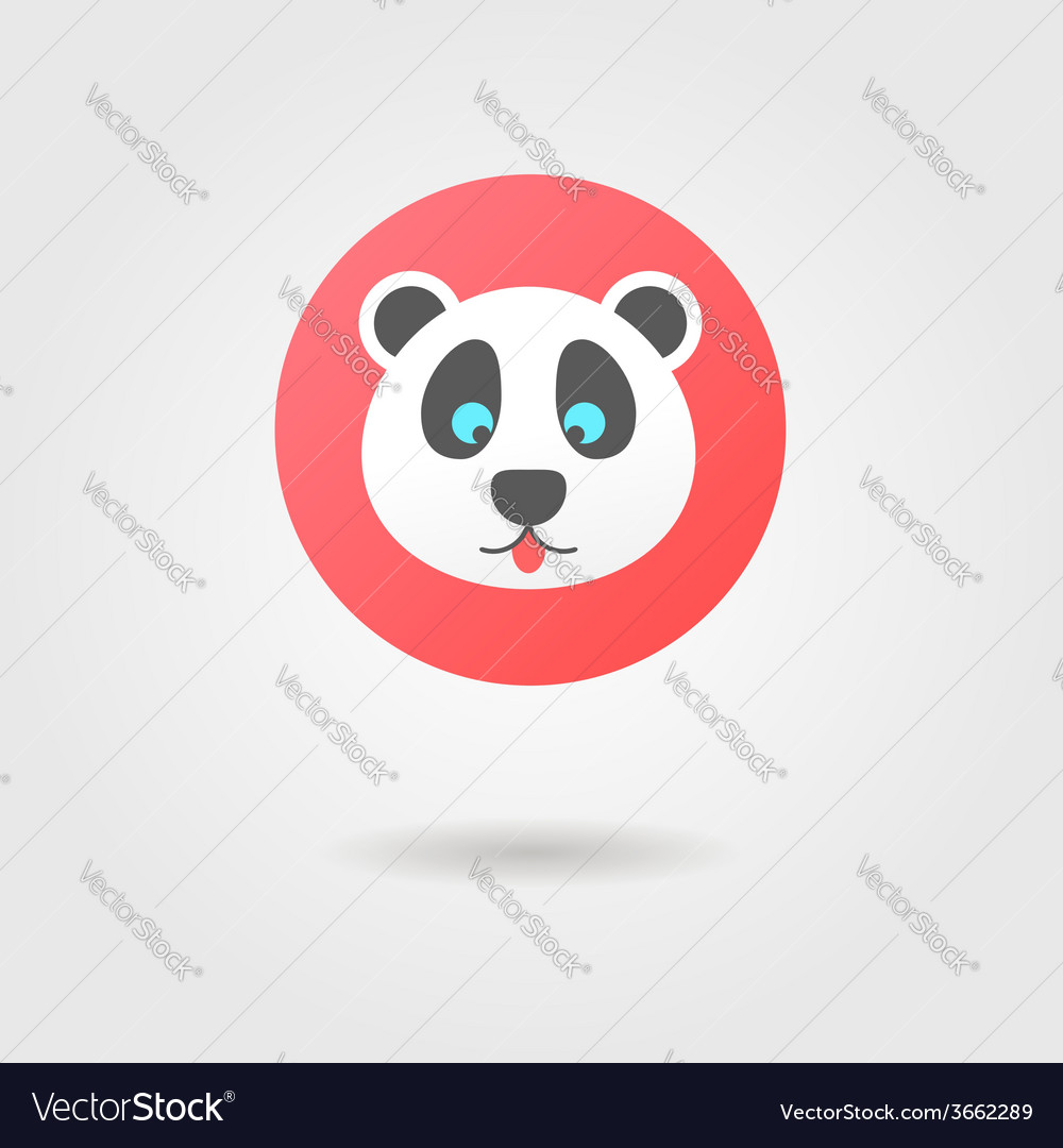 Panda in the red circle with shadow vector | Price: 1 Credit (USD $1)