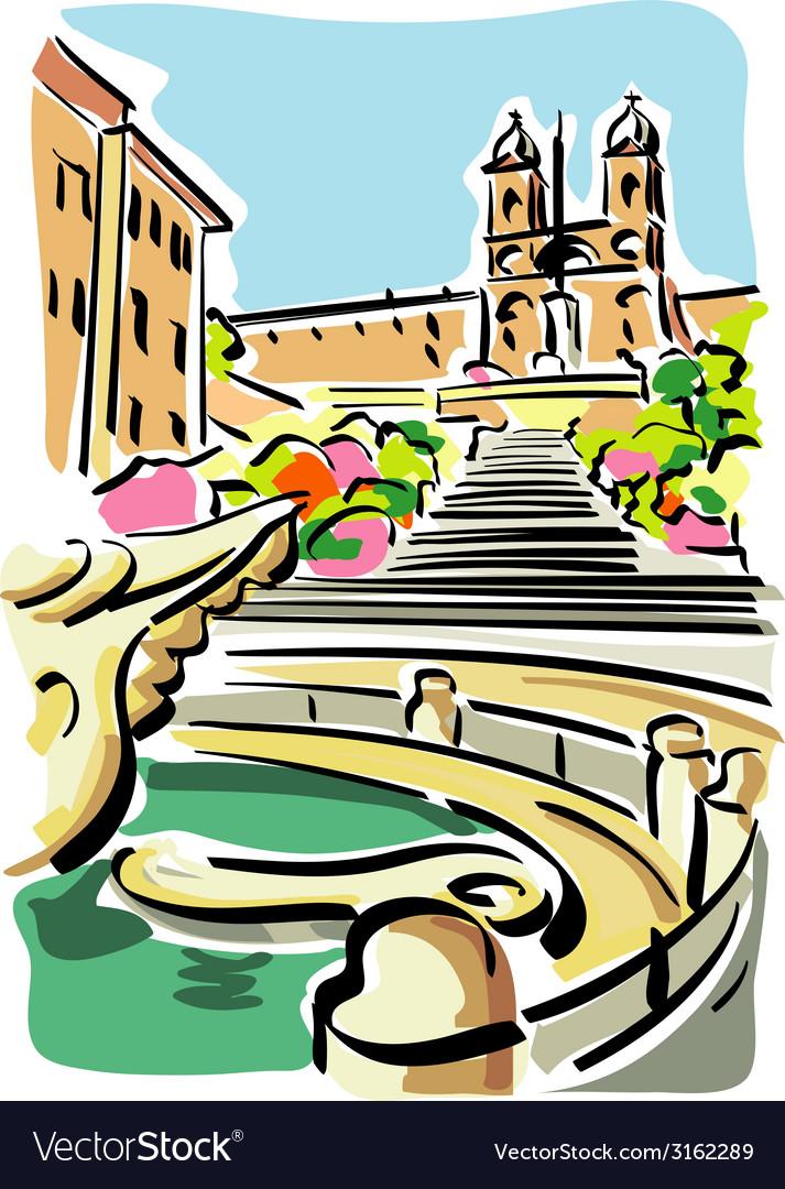 Rome piazza di spagna vector | Price: 1 Credit (USD $1)
