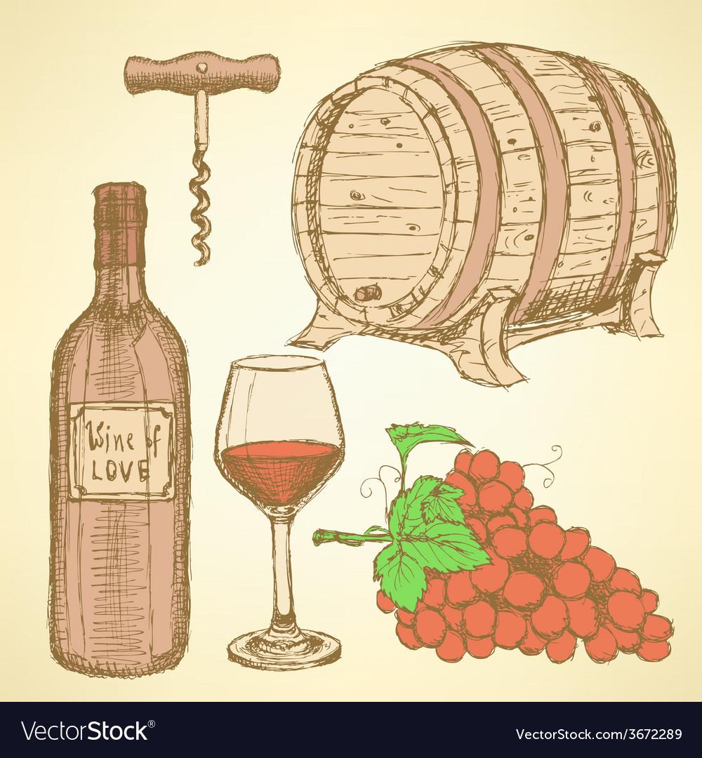Sketch wine set in vintage style vector   Price: 1 Credit (USD $1)