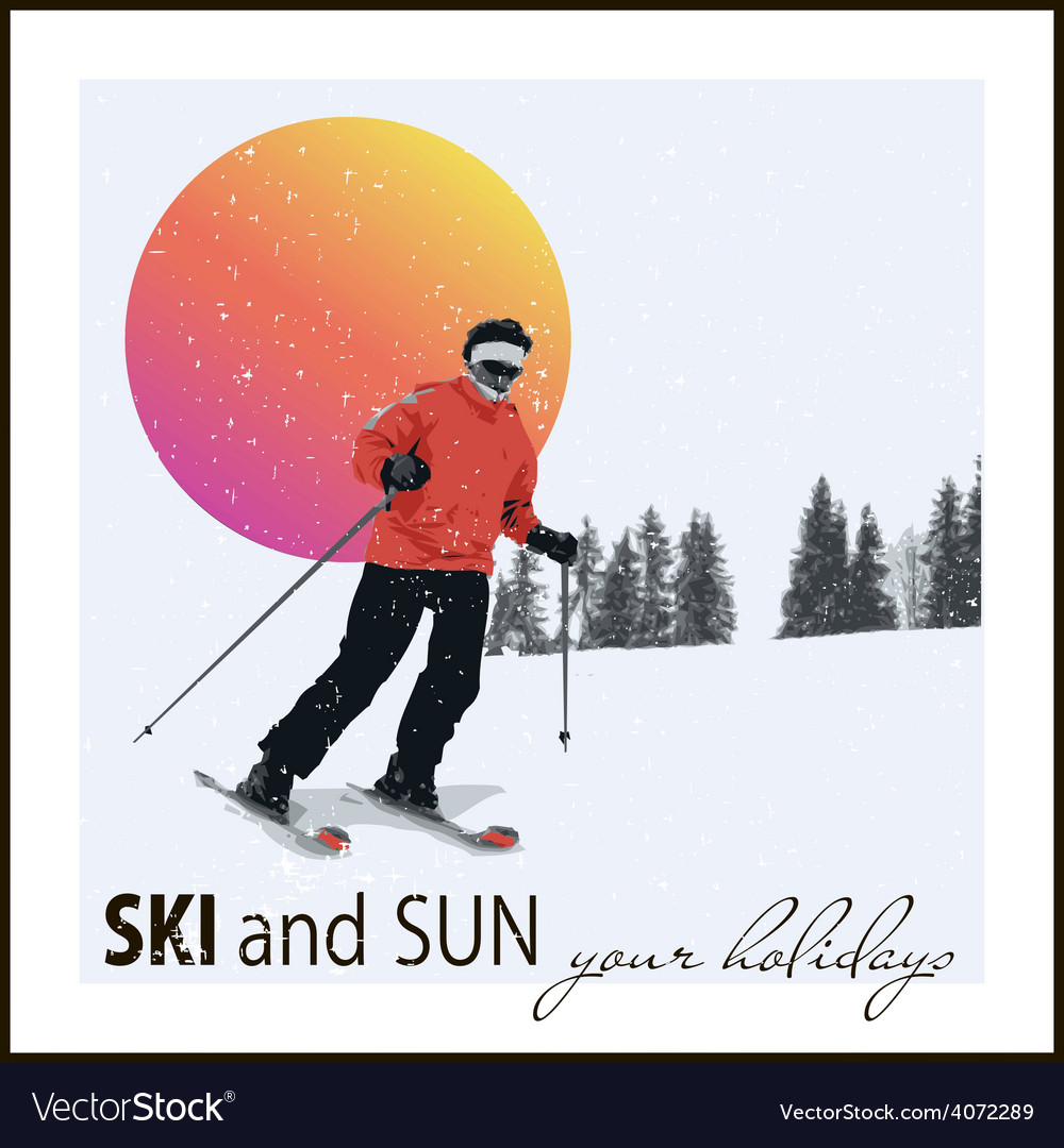Skier slides from the mountain vector | Price: 1 Credit (USD $1)