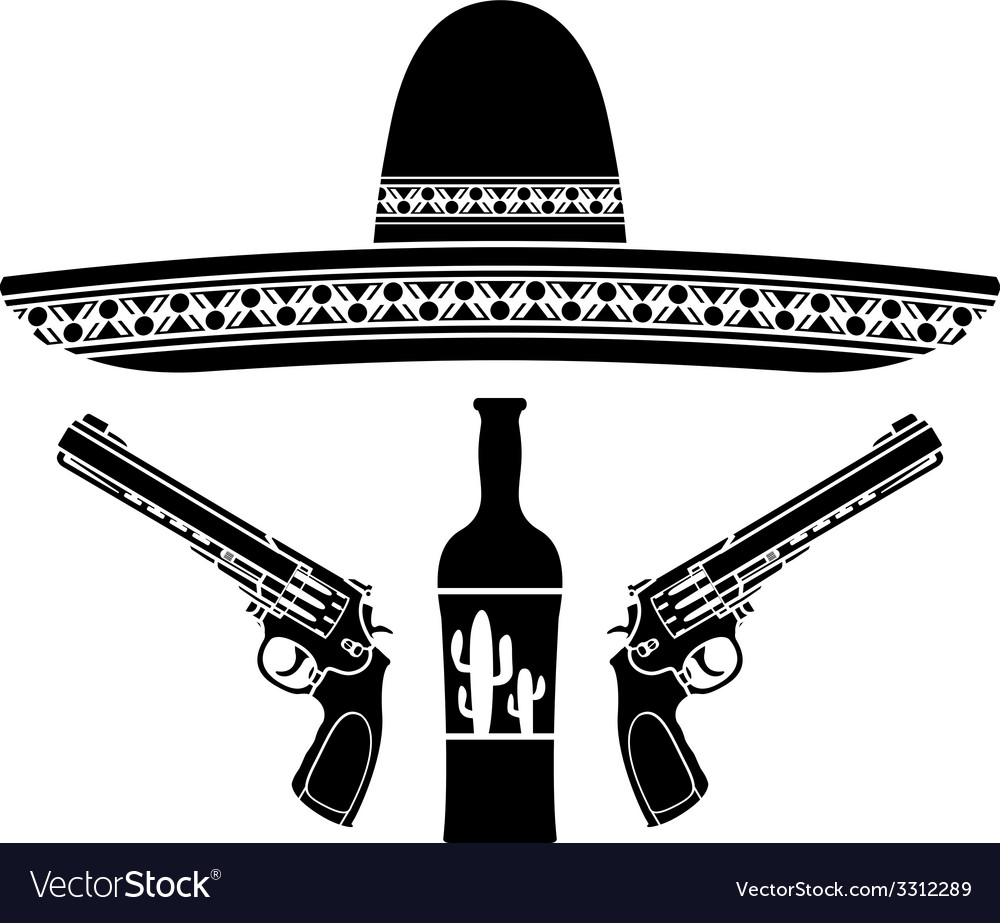 Tequila sombrero and two pistols vector | Price: 1 Credit (USD $1)