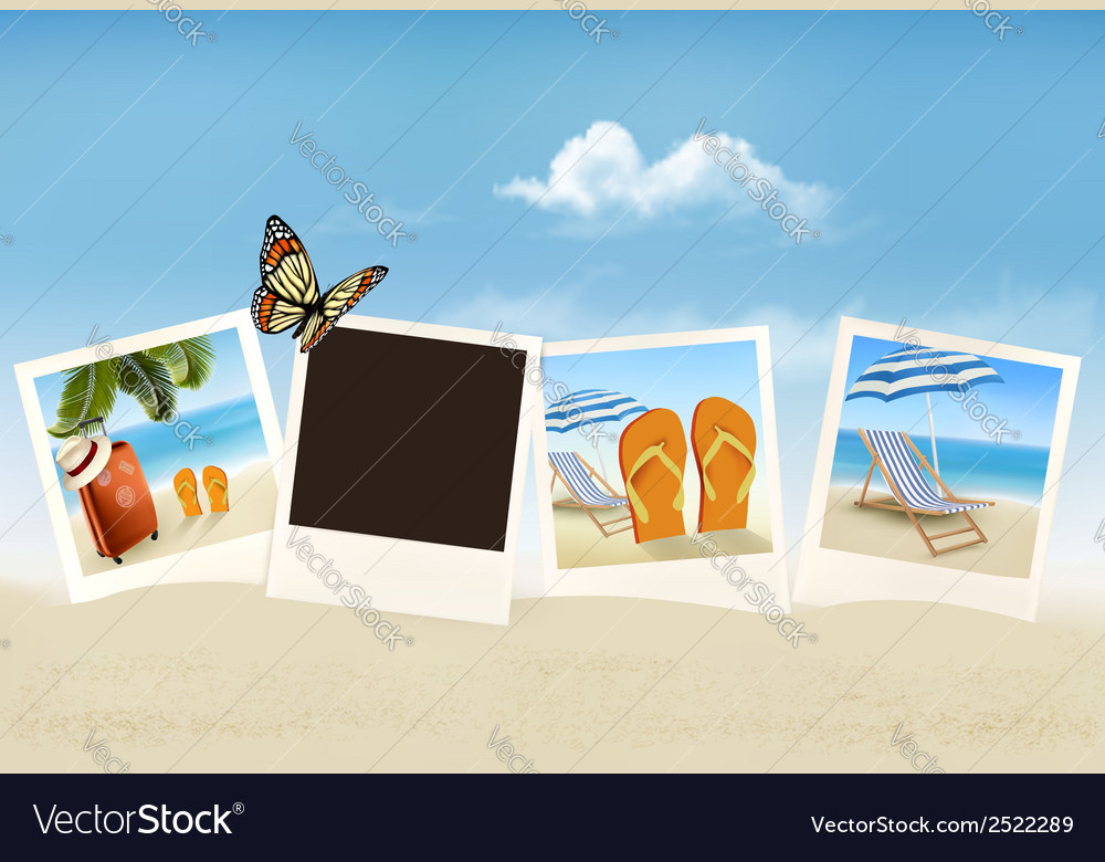 Vacation photos on a beach vector | Price: 1 Credit (USD $1)
