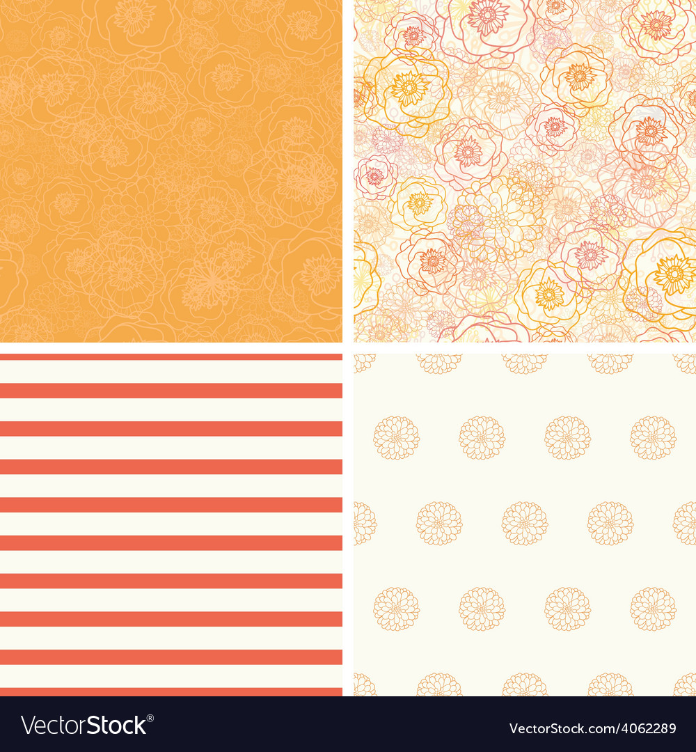 Warm flowers set of four matching repeat vector | Price: 1 Credit (USD $1)