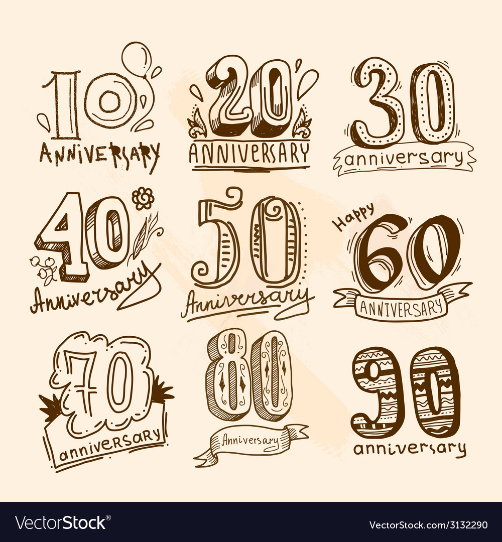 Anniversary signs set vector | Price: 1 Credit (USD $1)