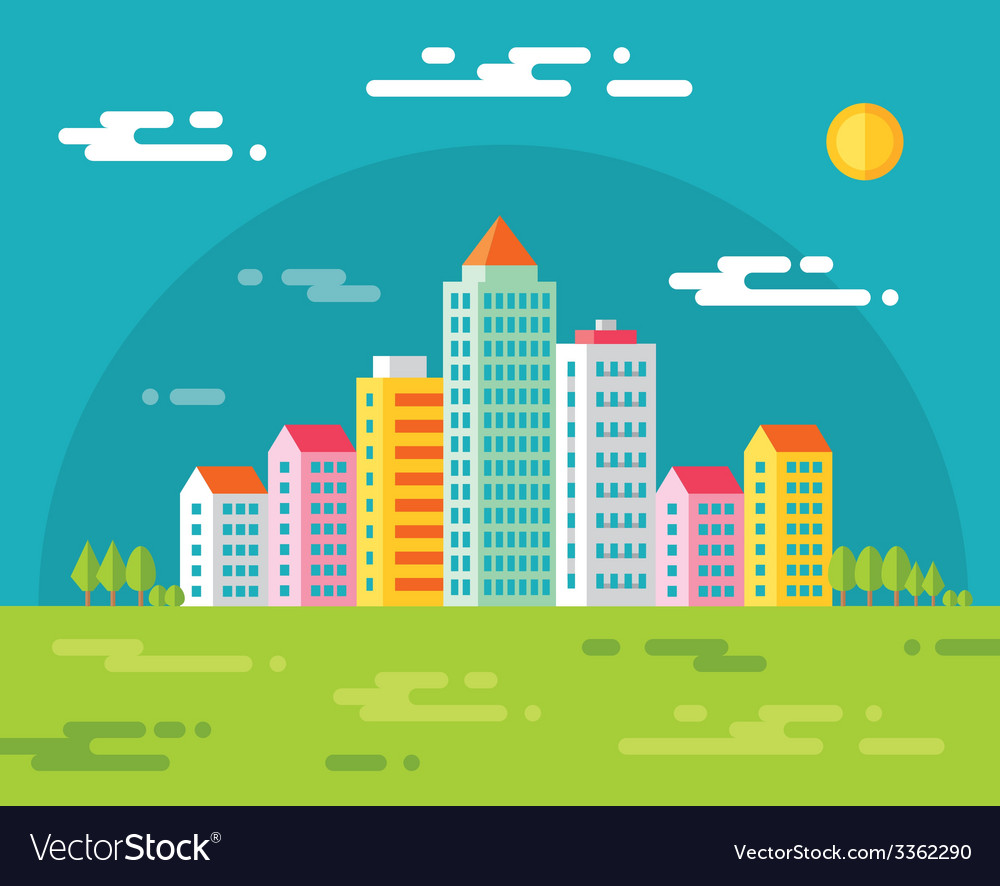Buildings in city - flat vector | Price: 1 Credit (USD $1)