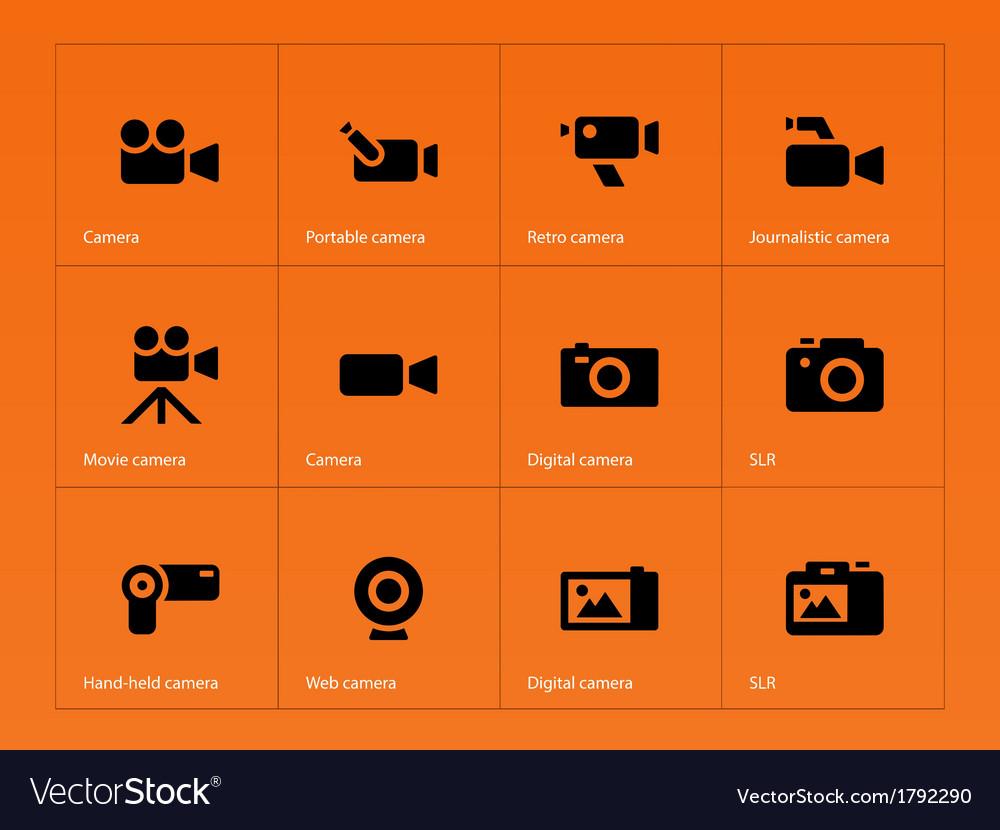 Camera icons on orange background vector | Price: 1 Credit (USD $1)