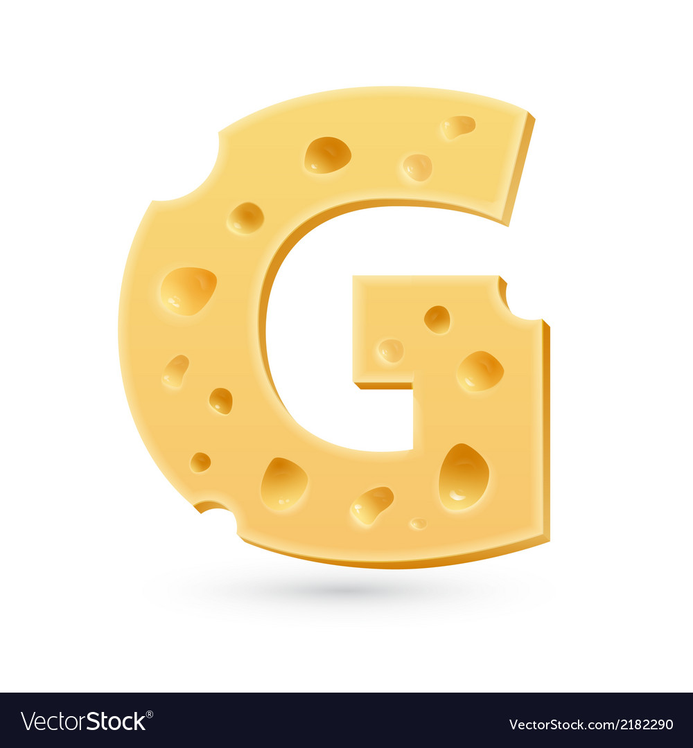 G cheese letter symbol isolated on white vector | Price: 1 Credit (USD $1)