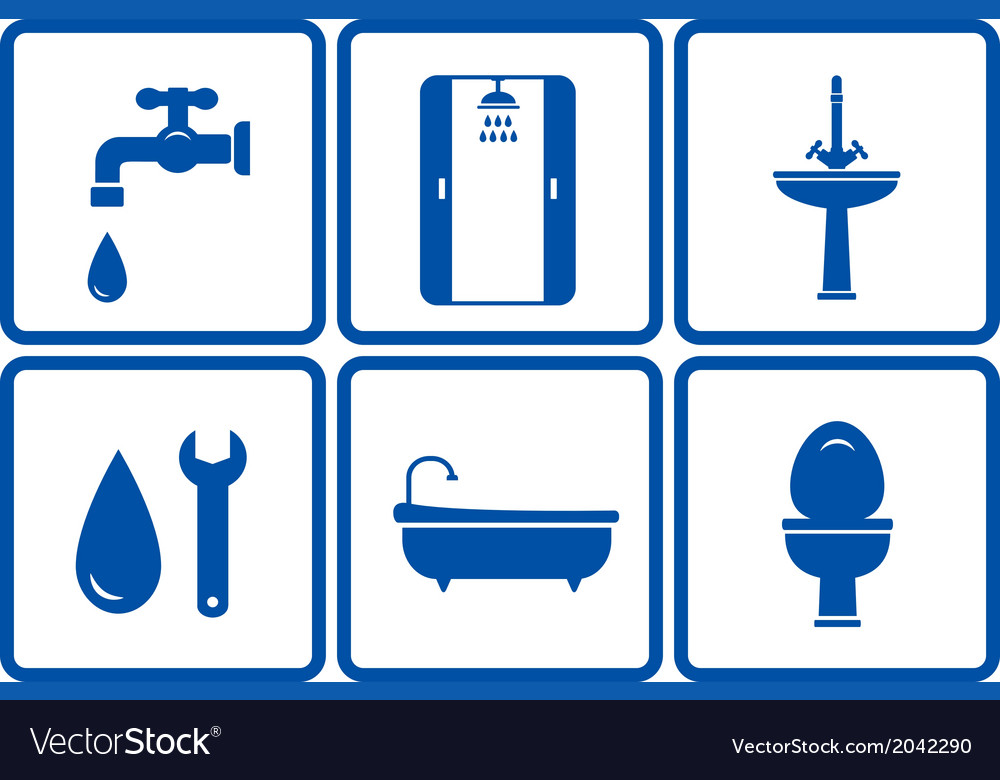 Icons with isolated bath objects vector | Price: 1 Credit (USD $1)