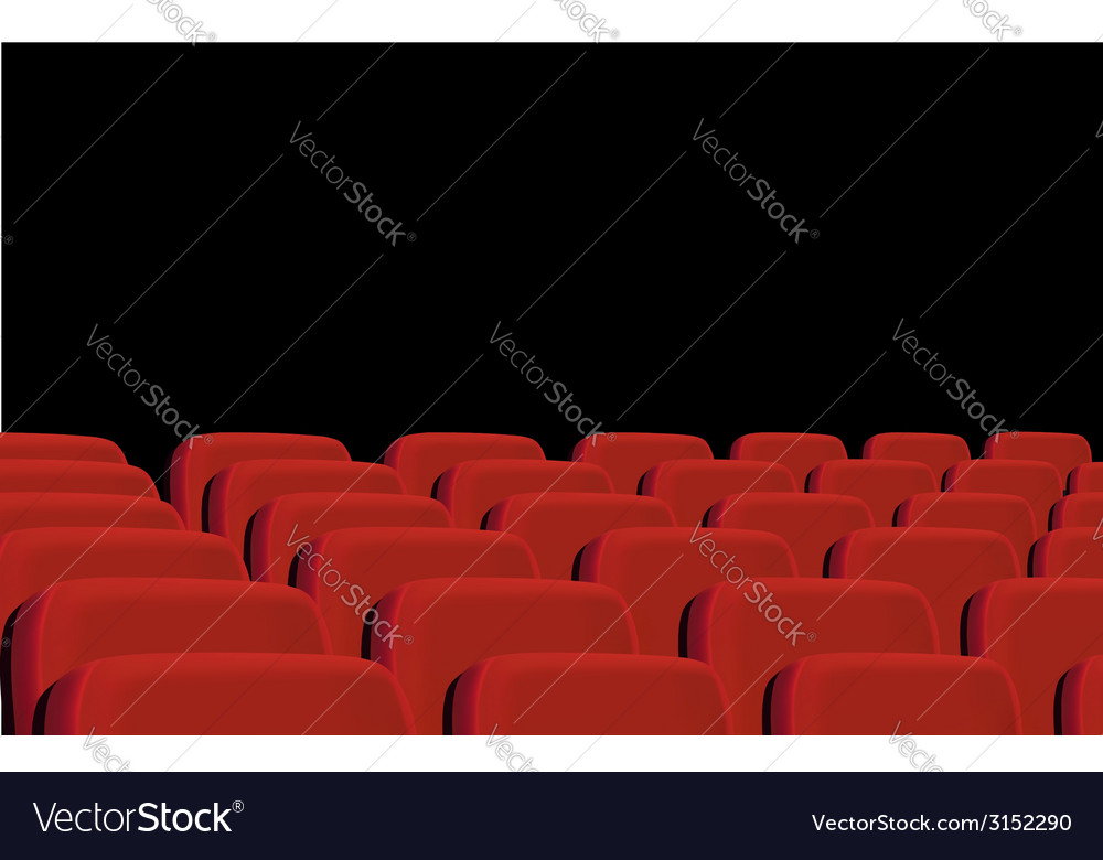 Rows of red cinema seats on a black background vector | Price: 1 Credit (USD $1)