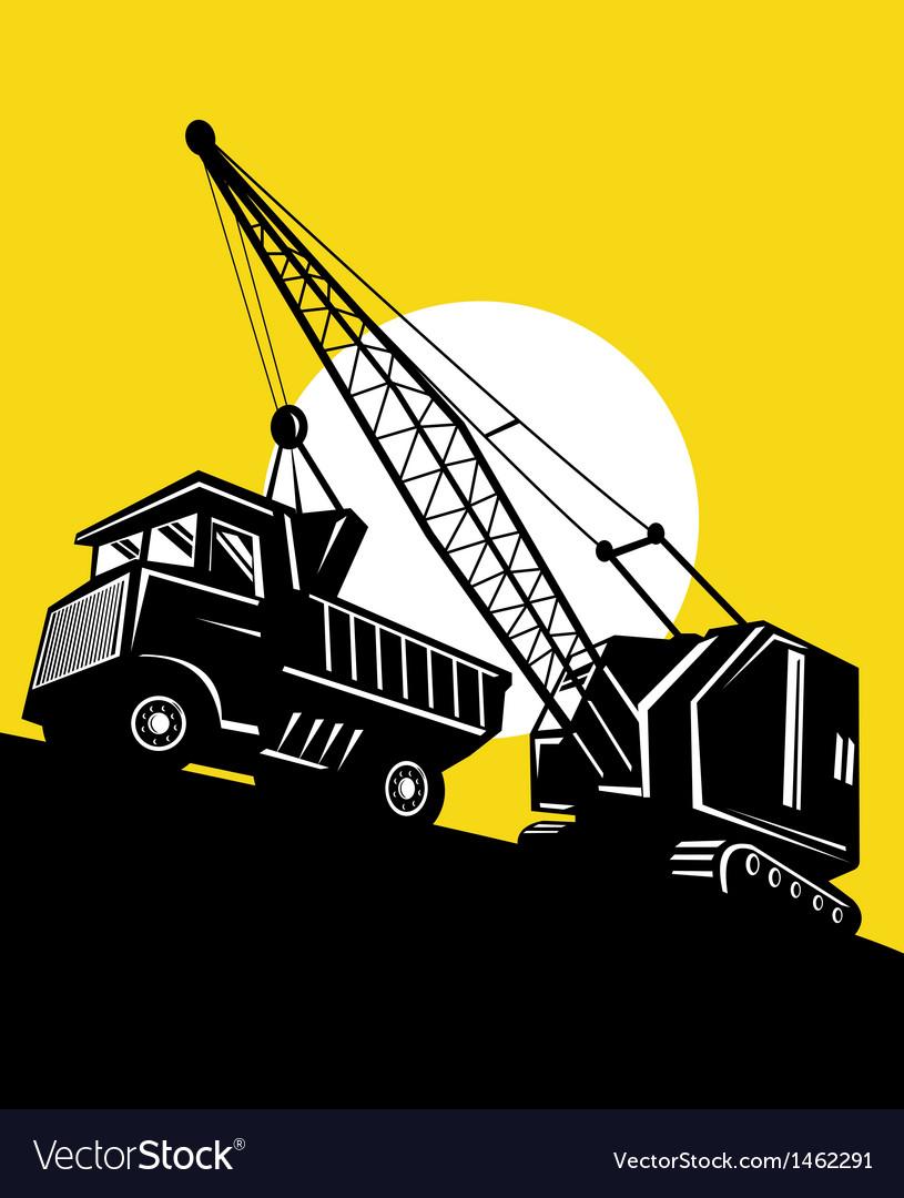 Boom crane loading mining dump truck vector | Price: 1 Credit (USD $1)