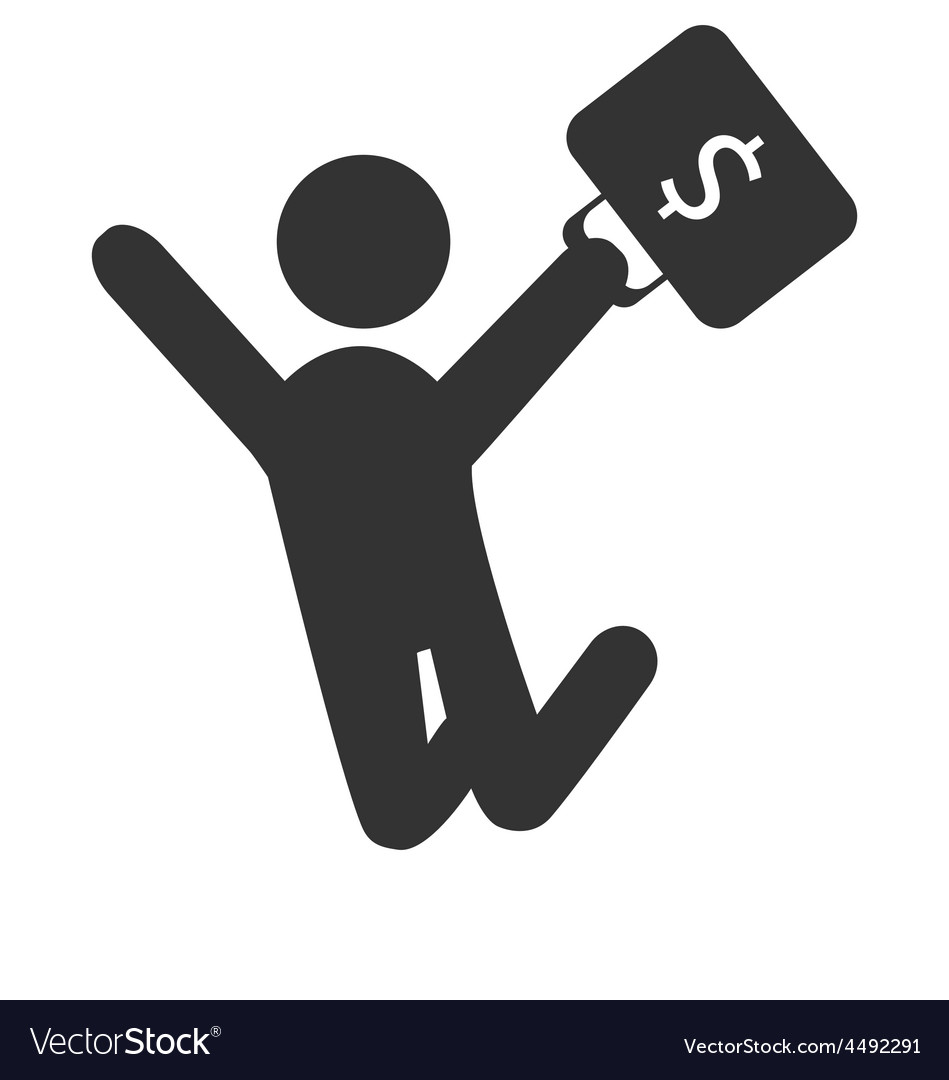 Business finance icon with jumping man with vector | Price: 1 Credit (USD $1)