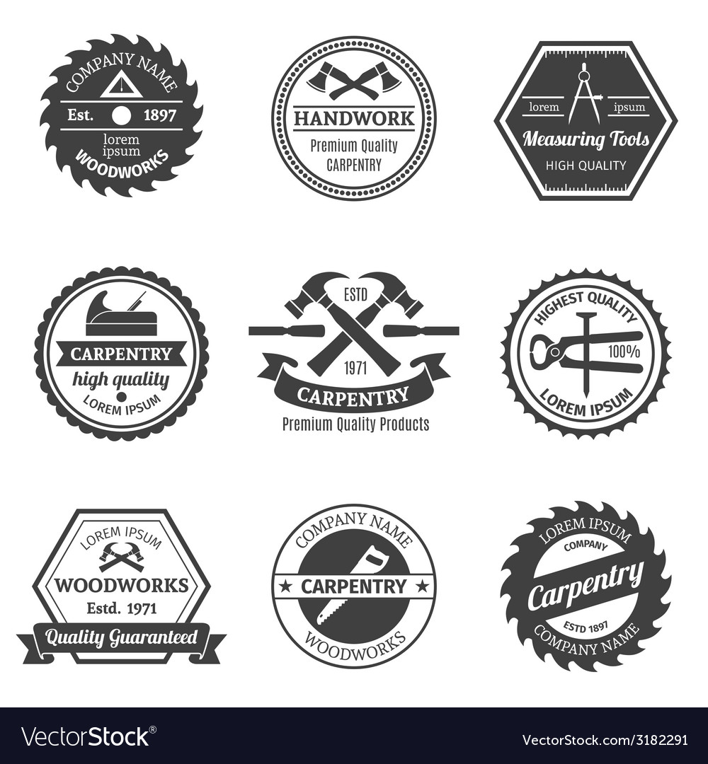 Carpentry emblems set vector | Price: 1 Credit (USD $1)