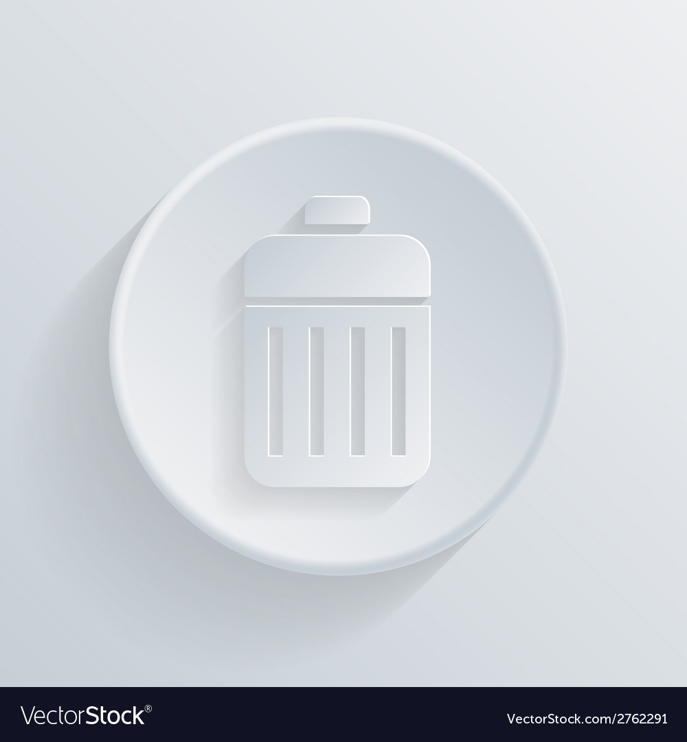 Circle icon with a shadow basket garbage vector | Price: 1 Credit (USD $1)