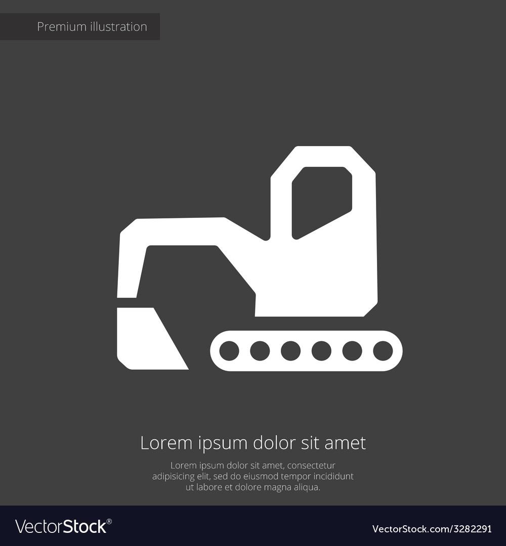 Excavator premium icon white on dark background vector | Price: 1 Credit (USD $1)