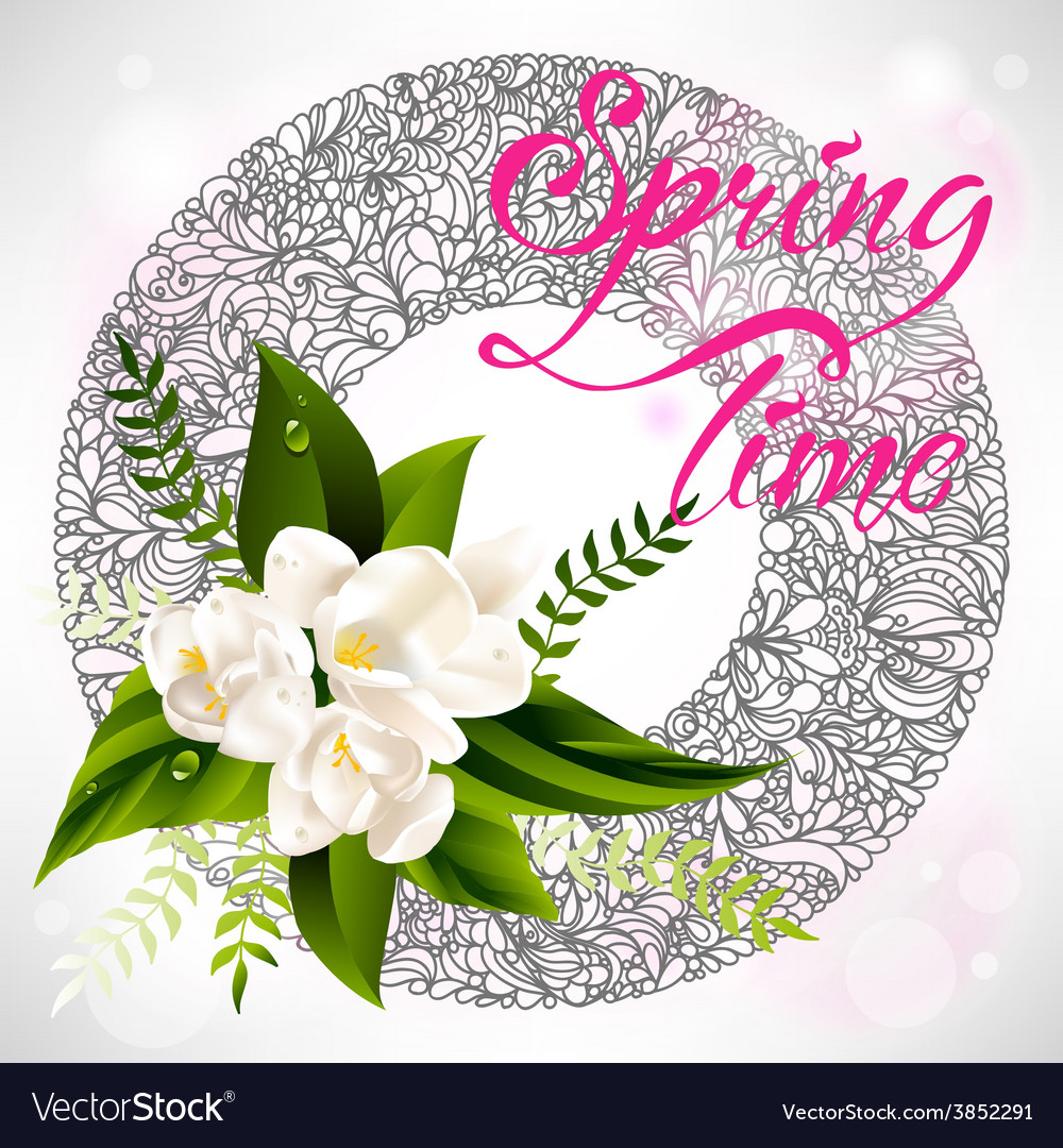 Fresh spring background with white flowers and vector | Price: 1 Credit (USD $1)