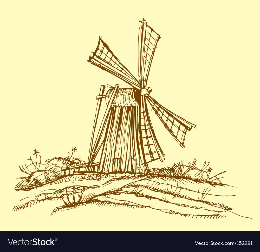 Old mill vector