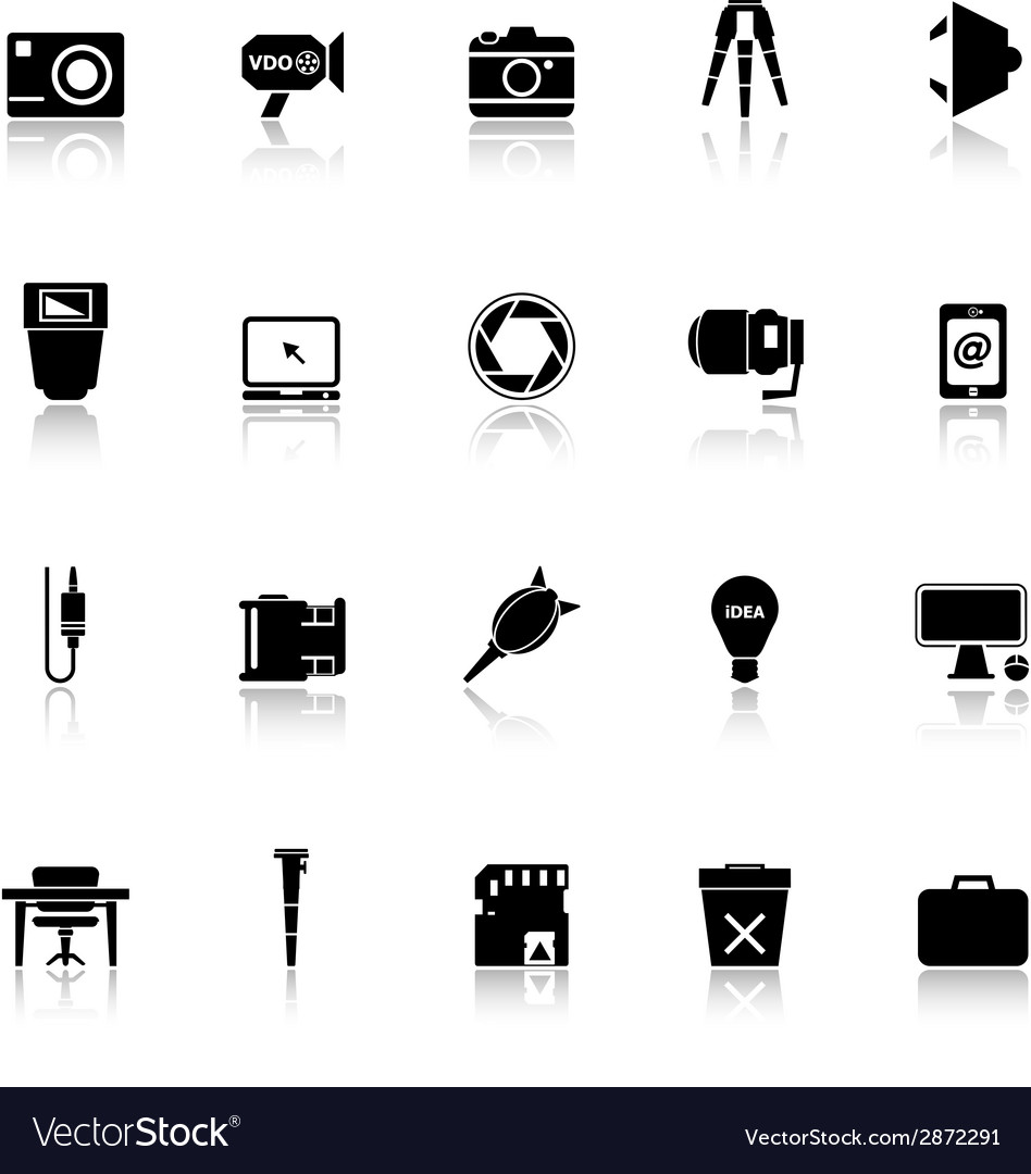 Photography related item icons with reflect on vector | Price: 1 Credit (USD $1)