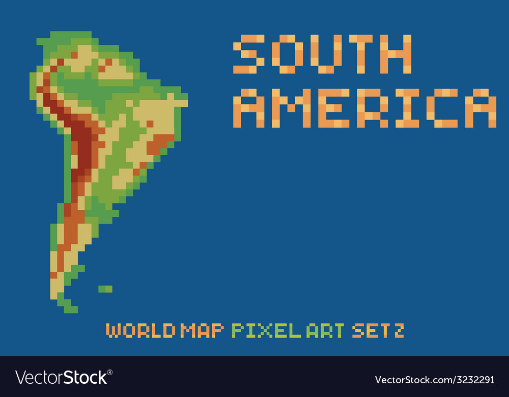 Pixel art style map of south america contains vector | Price: 1 Credit (USD $1)