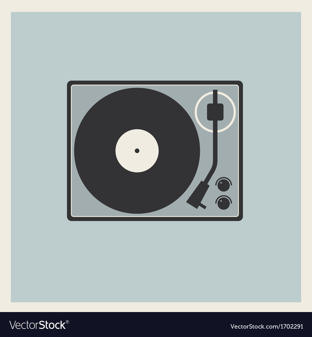 Retro background turntable vinyl record player vector | Price: 1 Credit (USD $1)