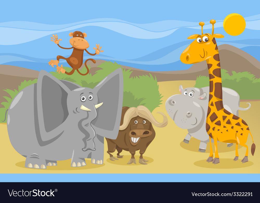 Safari animals group cartoon vector | Price: 3 Credit (USD $3)