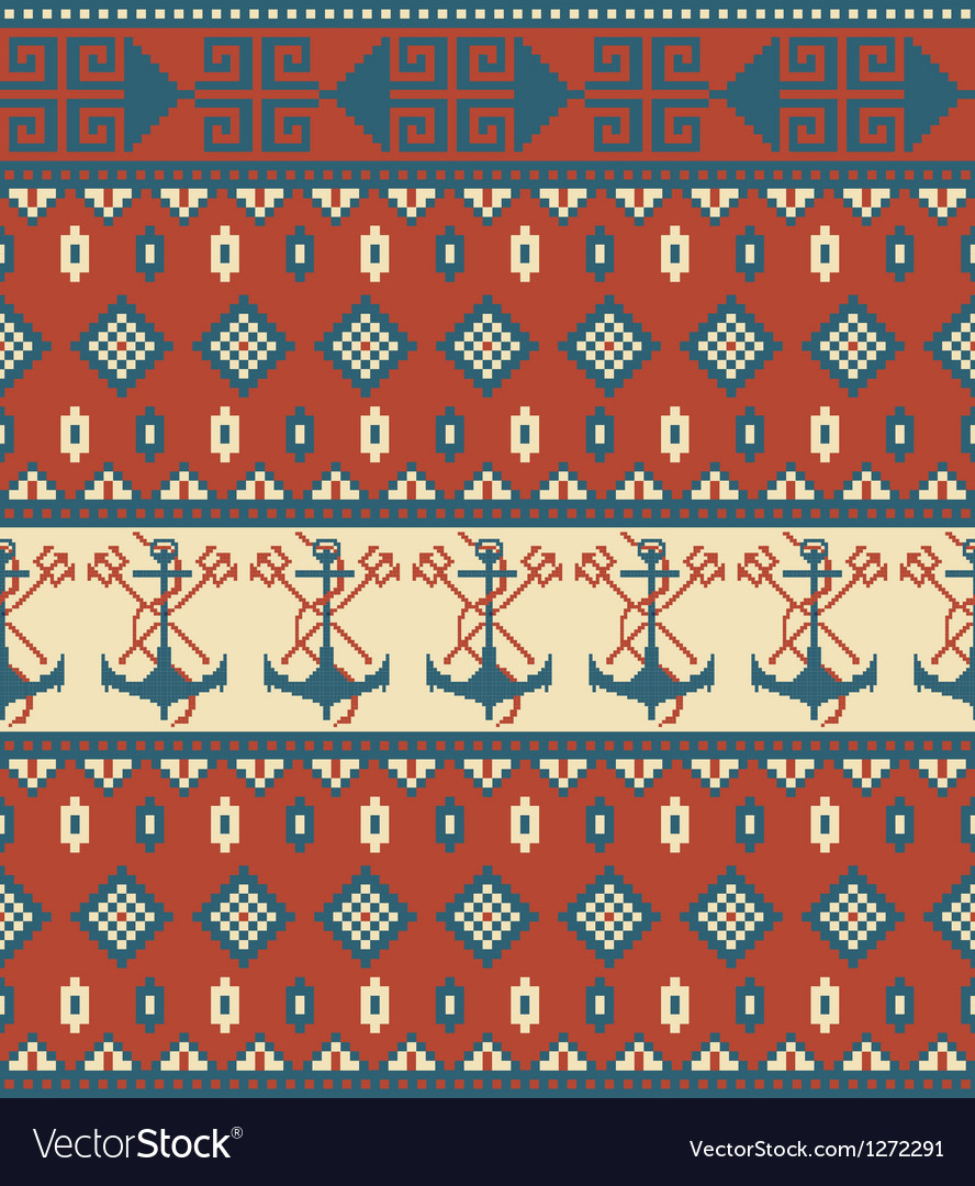 Seamless knitted pattern with anchor vector | Price: 1 Credit (USD $1)