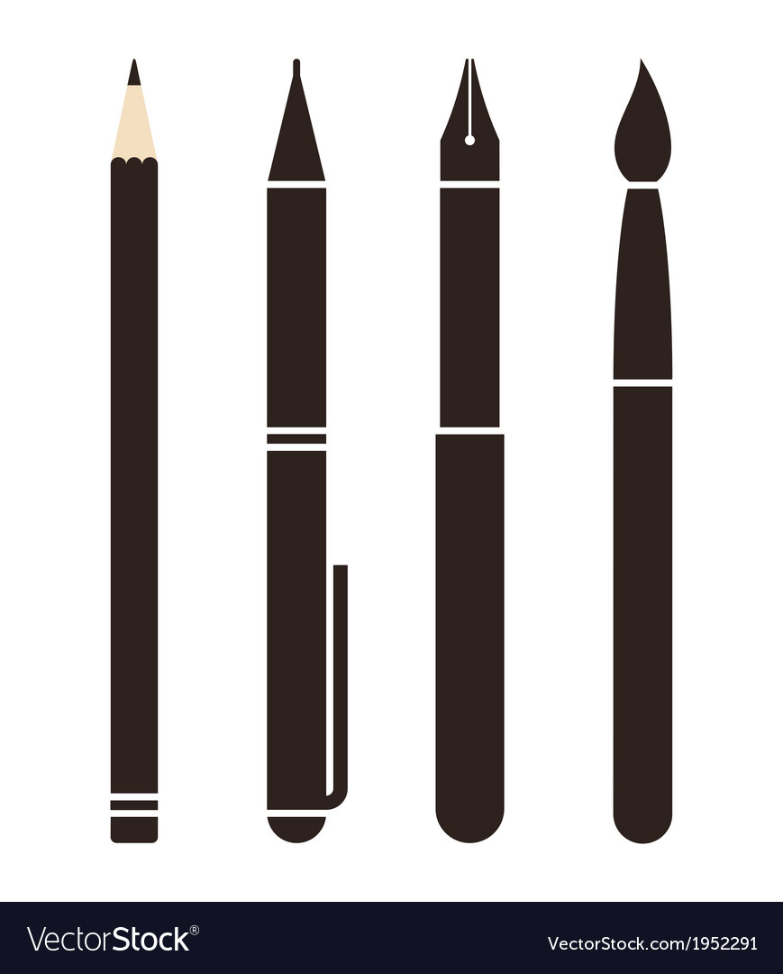 Set of pens and pencils vector | Price: 1 Credit (USD $1)