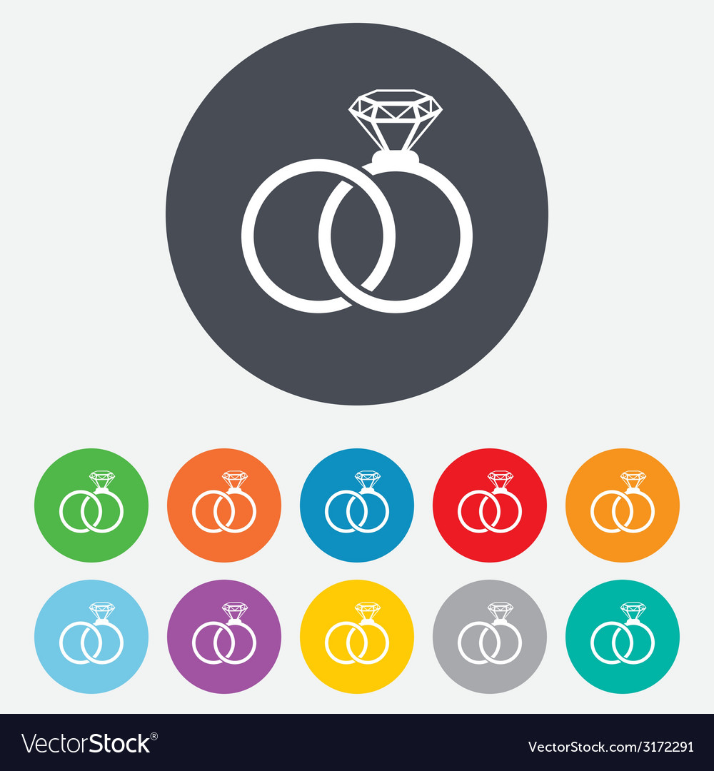 Wedding rings sign icon engagement symbol vector | Price: 1 Credit (USD $1)