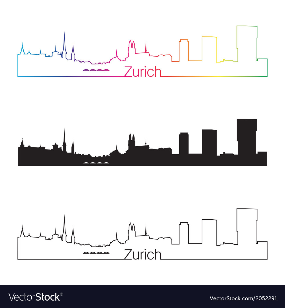 Zurich skyline linear style with rainbow vector | Price: 1 Credit (USD $1)
