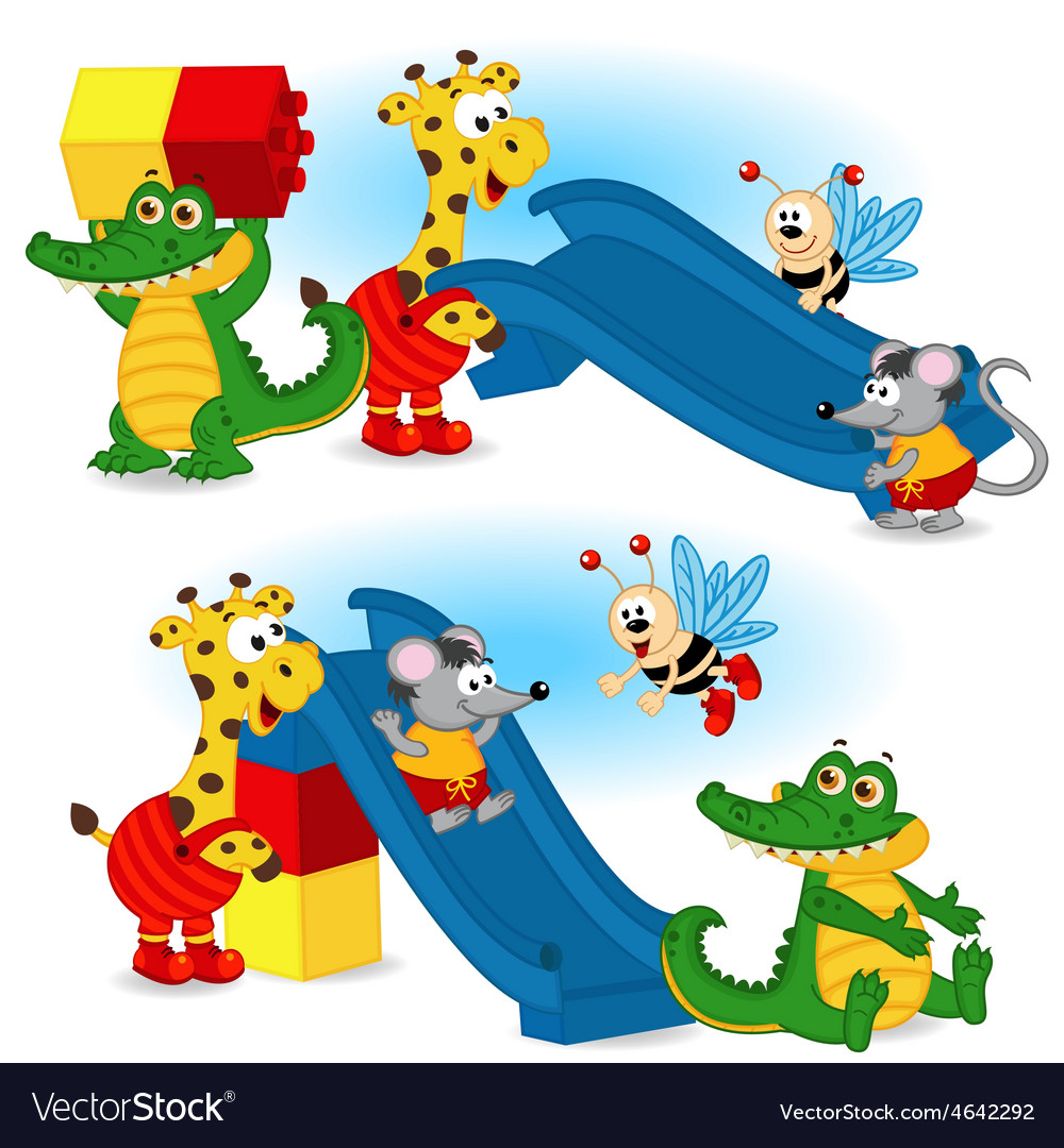 Animal are building slide from plastic block vector | Price: 3 Credit (USD $3)