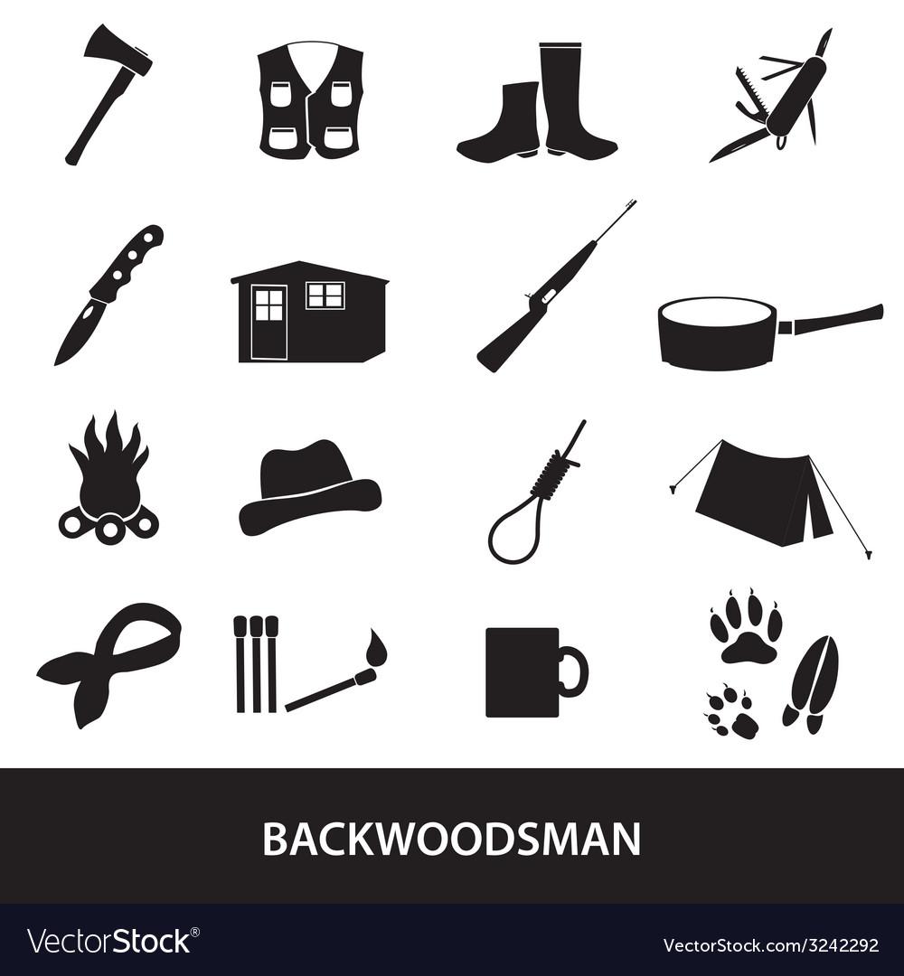 Black backwoodsman icon set eps10 vector | Price: 1 Credit (USD $1)