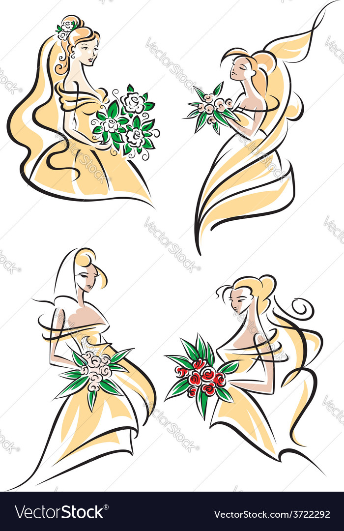 Blonde brides in doodle sketch style vector | Price: 1 Credit (USD $1)