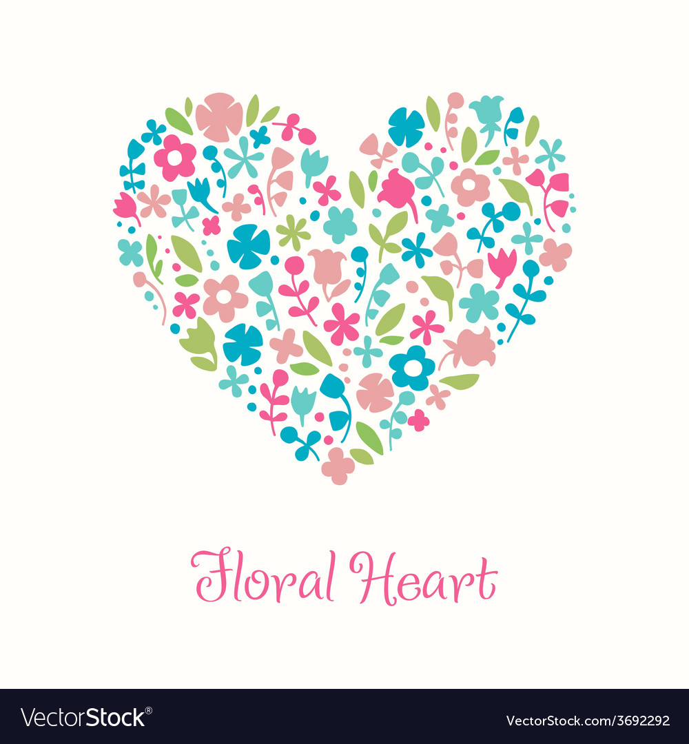 Decorative floral heart doodle for design greeting vector | Price: 1 Credit (USD $1)