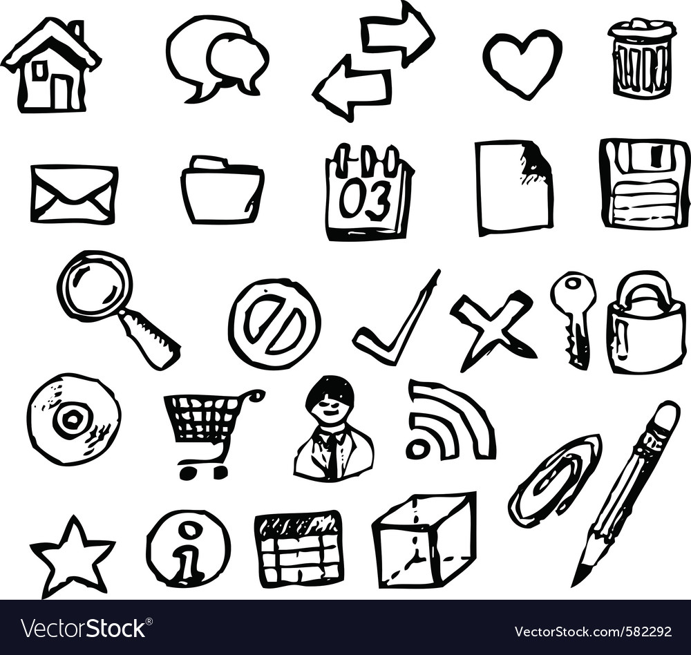 Doodle computer icons vector   Price: 1 Credit (USD $1)