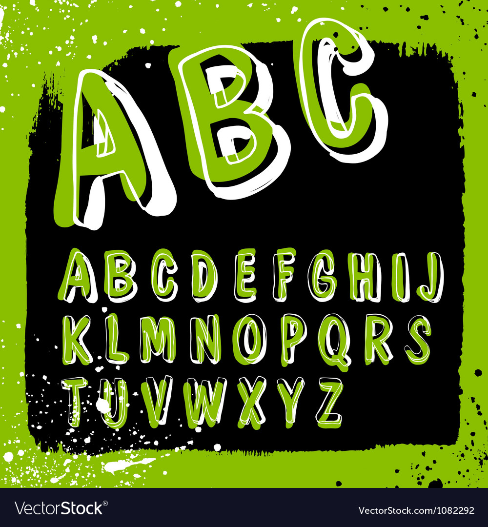 Doodles alphabet grunge vector | Price: 1 Credit (USD $1)