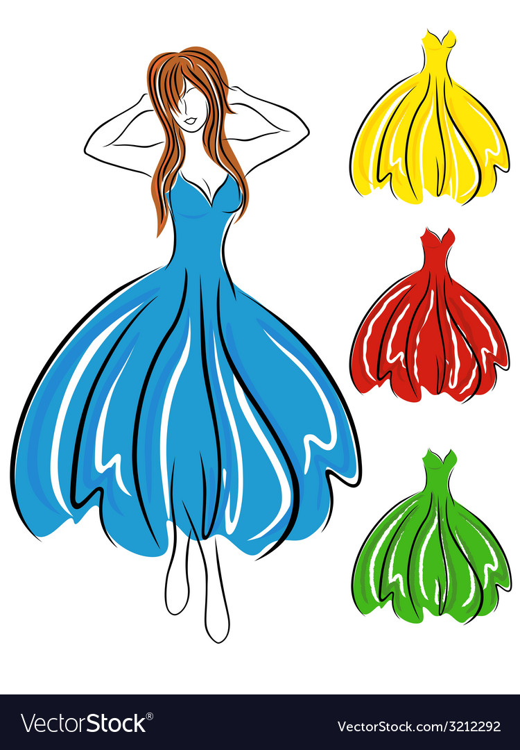 Girl in blue dress and set of gowns vector | Price: 1 Credit (USD $1)