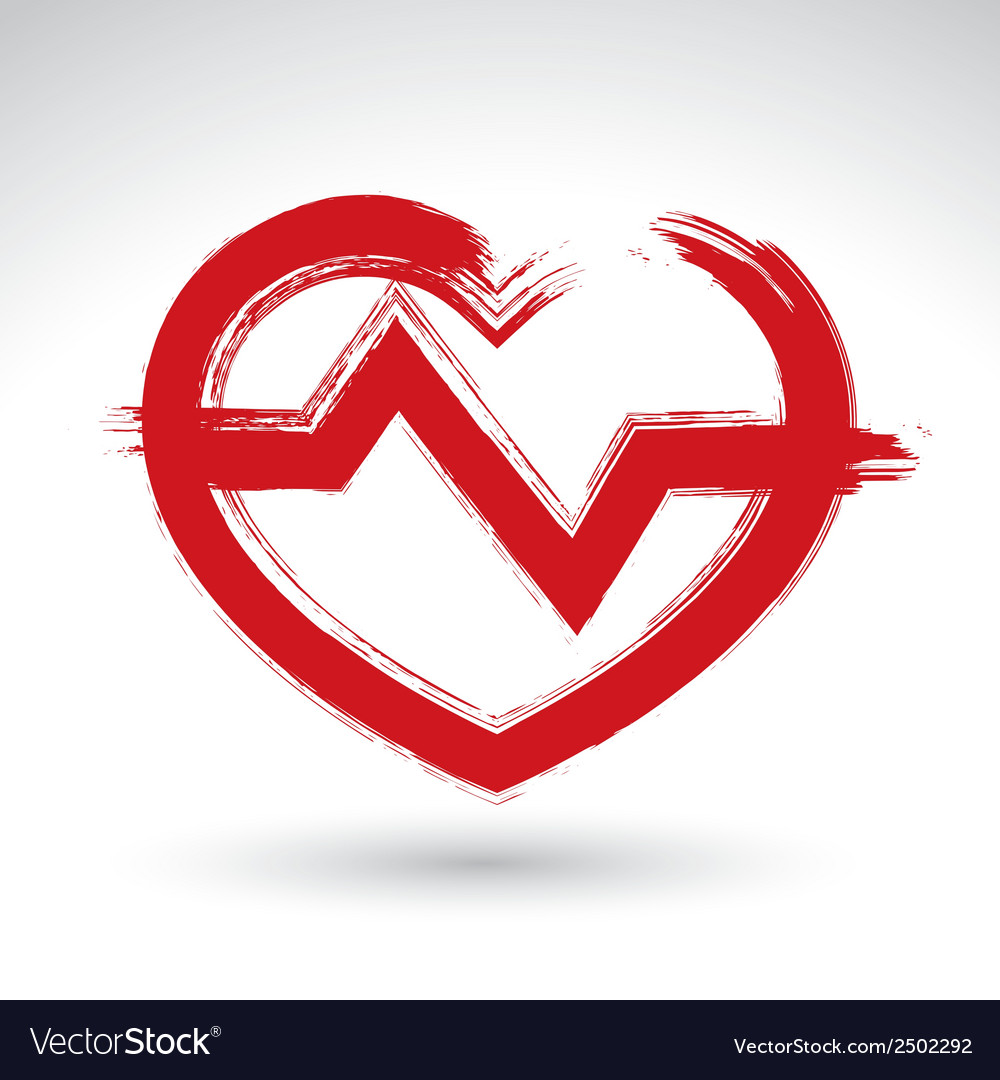 Hand drawn red heart icon brush drawing heart sign vector | Price: 1 Credit (USD $1)