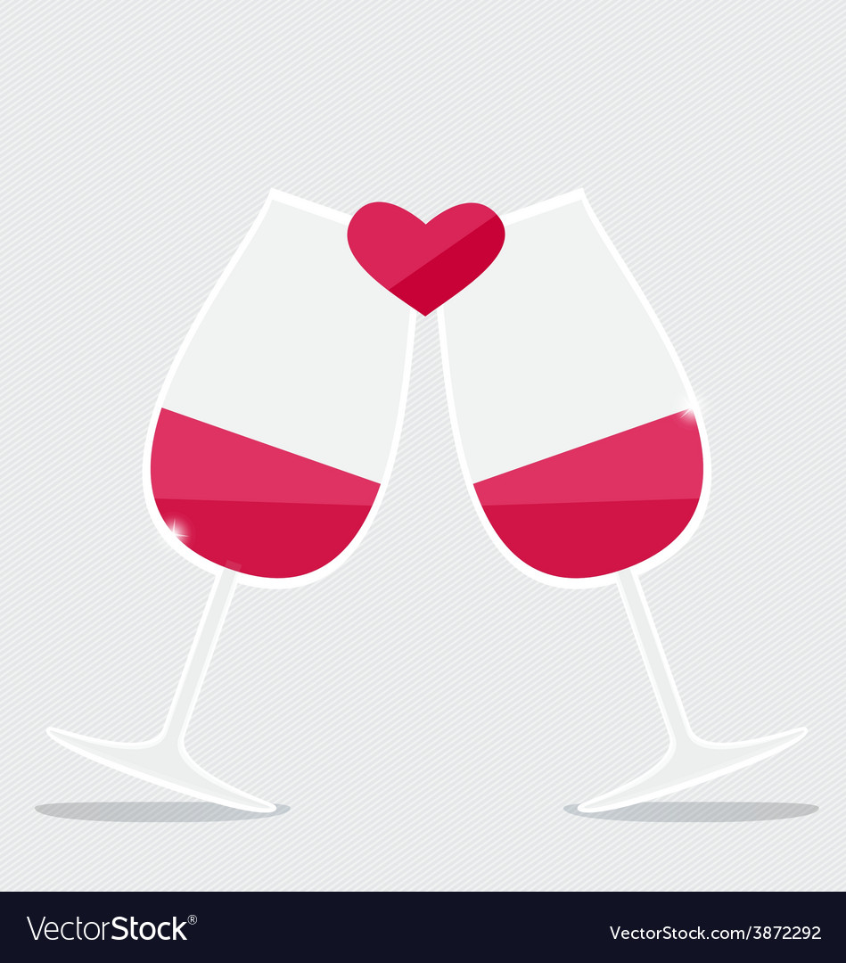 Happy valentines day two glasses of red wine with vector | Price: 1 Credit (USD $1)