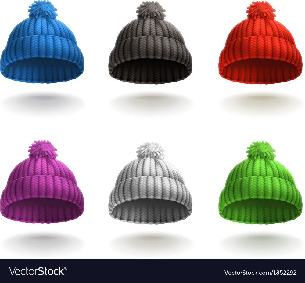 Knitted cap icon set vector | Price: 1 Credit (USD $1)