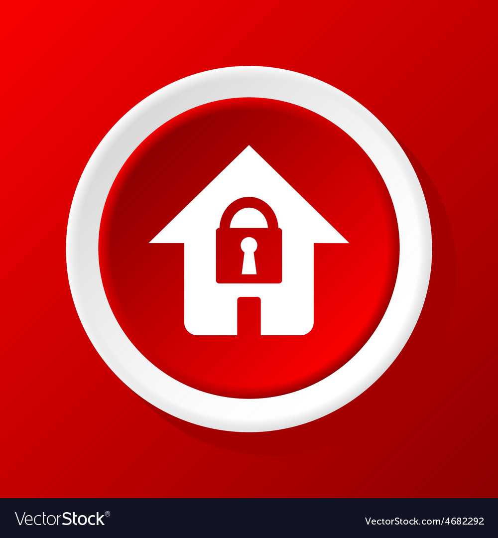Locked house icon on red vector | Price: 1 Credit (USD $1)