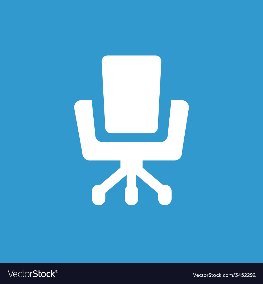 Office chair icon white on the blue background vector | Price: 1 Credit (USD $1)